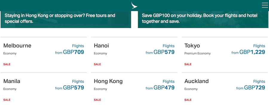 Cathay Pacific Airways Promotion Offers
